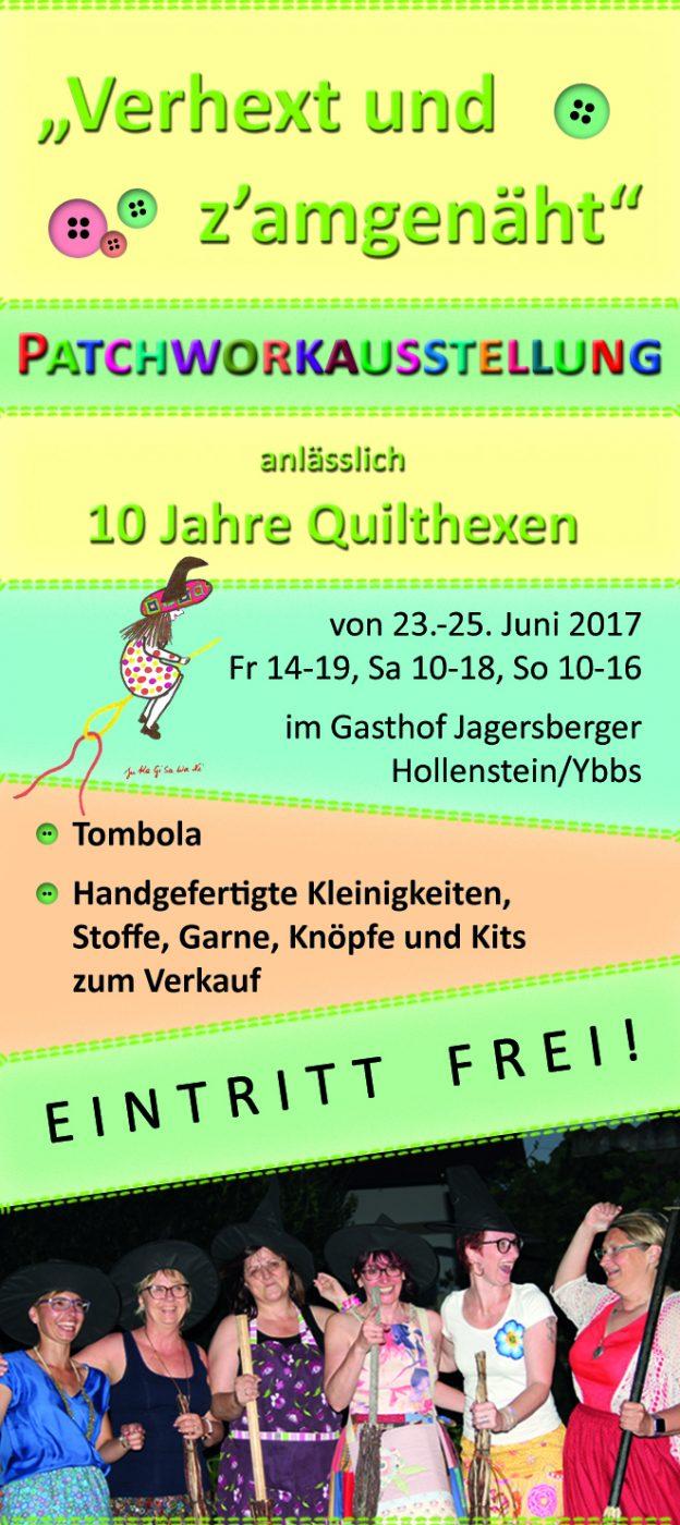 Flyer zur Patchworkausstellung der Quilthexen