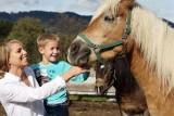 Mutter und Sohn streicheln ein Pferd.