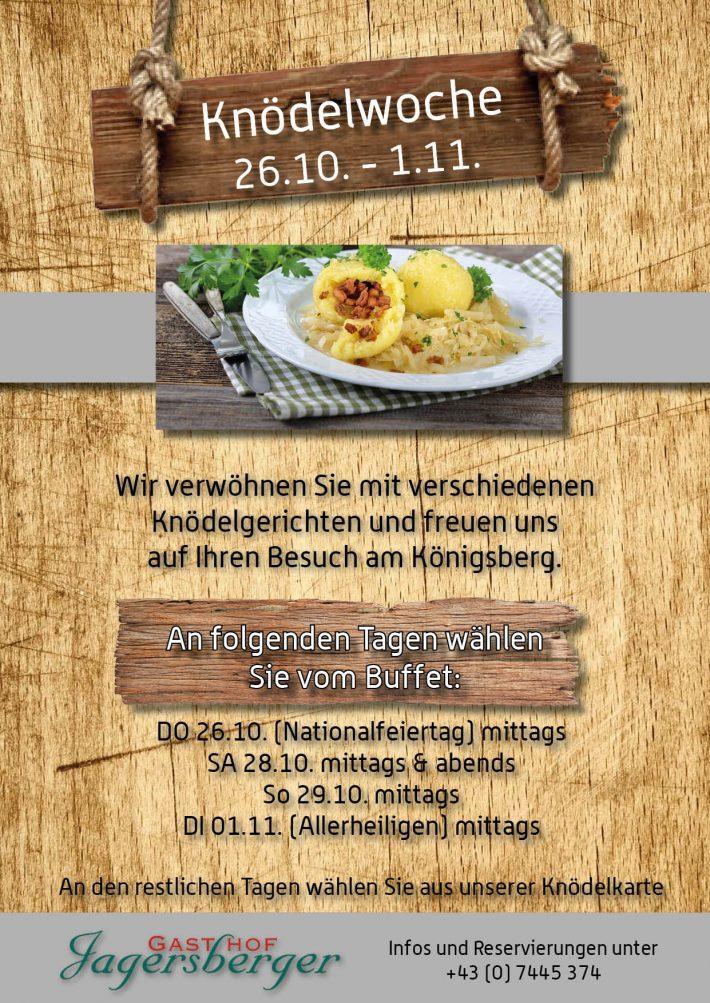 Plakat zur Knödelwoche im Gasthof Jagerberger